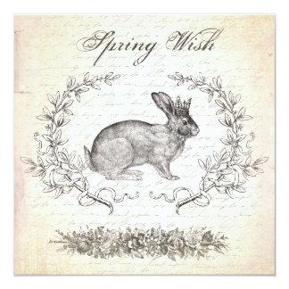 "Vintage Easter rabbit invitation 5.25"" Square Invitation Card"