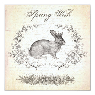 Vintage Easter rabbit invitation