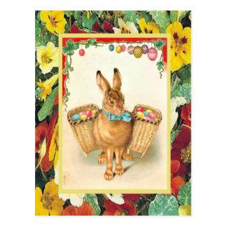 Vintage Easter, Rabbit with baslets of eggs Postcard