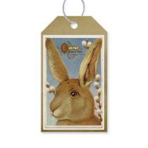Vintage Easter Rabbit with Pussy Willows Gift Tag