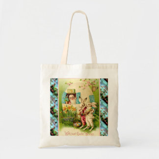 Vintage Easter,  Rabbits and eggs Tote Bag