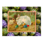 Vintage Easter, Rabbits, chicks and eggs Postcard