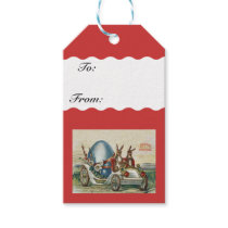 Vintage Easter Rabbits Flowers Car Egg Gift Tags