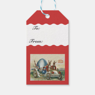 Vintage cars gift tags zazzle vintage easter rabbits flowers car egg gift tags negle Images