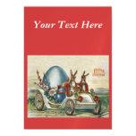 Vintage Easter Rabbits Flowers Car Egg Magnetic Invitations