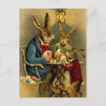 vintage Easter rabbits painting eggs Holiday Postcard