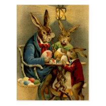 vintage Easter rabbits painting eggs Postcard