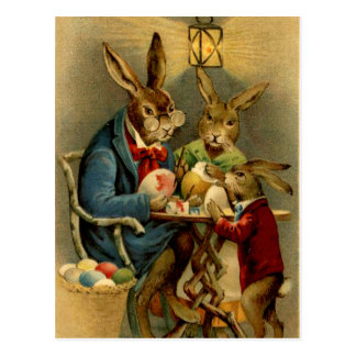 vintage Easter rabbits painting eggs Postcard