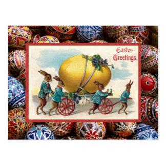Vintage Easter, Rabbits pulling cart Postcard