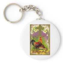 VINTAGE EASTER ROOSTER WITH CROSS AND LILIES KEYCHAIN
