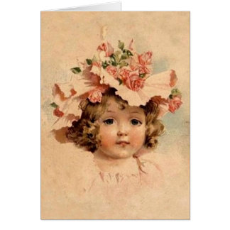 Vintage Easter Rose Bonnet Girl Card