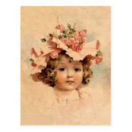 Vintage Easter Rose Bonnet Girl Postcard