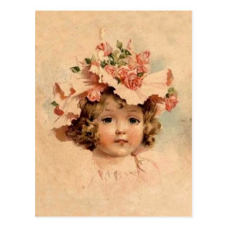 Vintage Easter Rose Bonnet Girl Postcard