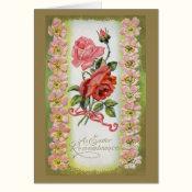 Vintage Easter Roses Greeting Card