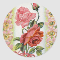 Vintage Easter Roses Stickers