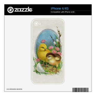 Vintage Easter Spring Baby Chicks Flowers Skin For The iPhone 4