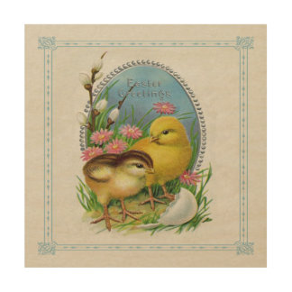 Vintage Easter Spring Baby Chicks Flowers Wood Wall Art