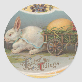 Vintage Easter Tidings Classic Round Sticker
