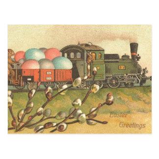 Vintage Easter Train Postcard