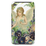 Vintage Easter Victorian Angel Purple Pansy Flower Barely There iPod Cases