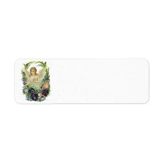 Vintage Easter Victorian Angel Purple Pansy Flower Return Address Label