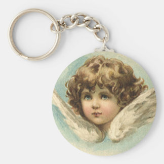 Vintage Easter, Victorian Angel with Lily Flowers Keychain