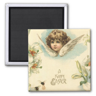Vintage Easter, Victorian Angel with Lily Flowers Magnet