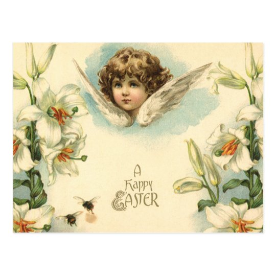 Vintage Easter, Victorian Angel with Lily Flowers Postcard
