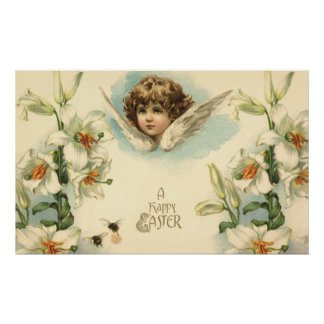 Vintage Easter, Victorian Angel with Lily Flowers Poster