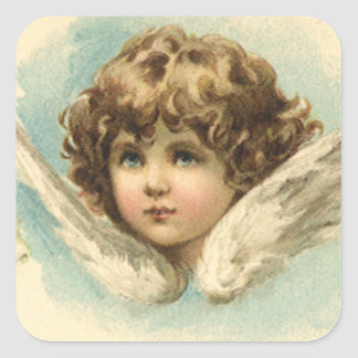 Vintage Easter, Victorian Angel with Lily Flowers Square Sticker