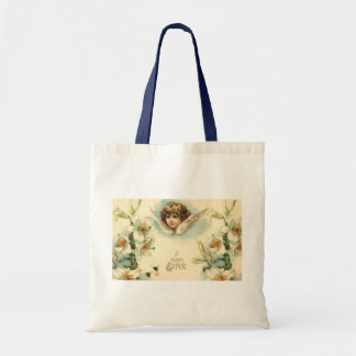 Vintage Easter, Victorian Angel with Lily Flowers Tote Bag