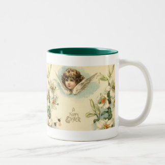 Vintage Easter, Victorian Angel with Lily Flowers Two-Tone Coffee Mug