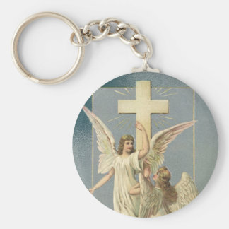 Vintage Easter, Victorian Angels with a Cross Keychain