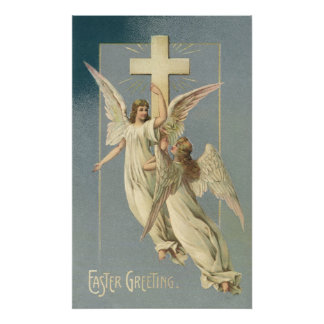 Vintage Easter, Victorian Angels with a Cross Poster