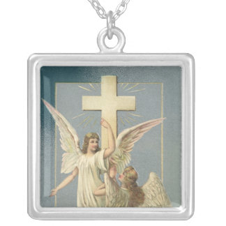 Vintage Easter, Victorian Angels with a Cross Silver Plated Necklace