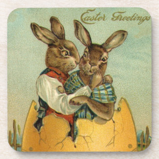 Vintage Easter, Victorian Bunnies in an Egg Beverage Coaster