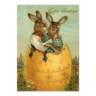 Vintage Easter, Victorian Bunnies in an Egg Card