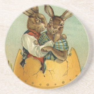 Vintage Easter, Victorian Bunnies in an Egg Drink Coaster