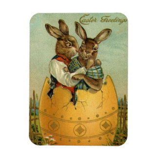 Vintage Easter, Victorian Bunnies in an Egg Magnet