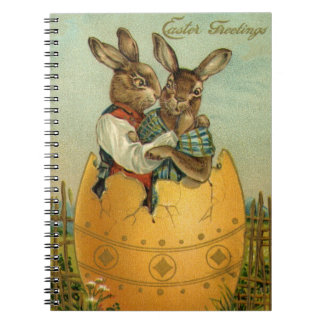 Vintage Easter, Victorian Bunnies in an Egg Notebook