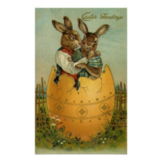 Vintage Easter, Victorian Bunnies in an Egg Poster