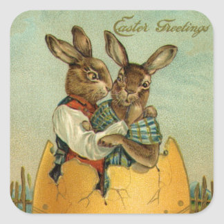 Vintage Easter, Victorian Bunnies in an Egg Square Sticker