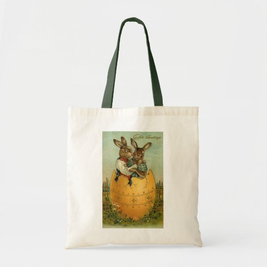 Vintage Easter, Victorian Bunnies in an Egg Tote Bag
