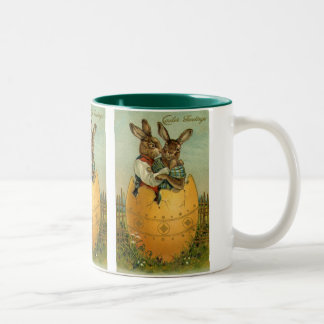 Vintage Easter, Victorian Bunnies in an Egg Two-Tone Coffee Mug