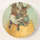 Vintage Easter, Victorian Bunnies in Egg Beverage Coasters