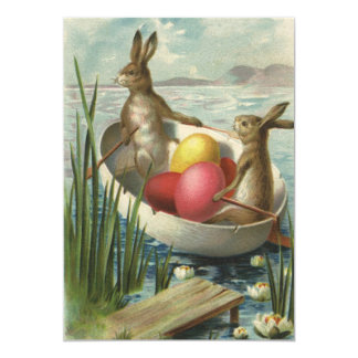 """Vintage Easter, Victorian Bunnies in Egg Boat 5"""" X 7"""" Invitation Card"""