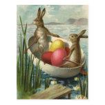 Vintage Easter, Victorian Bunnies in Egg Boat Postcard