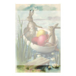 Vintage Easter, Victorian Bunnies in Egg Boat Stationery Paper