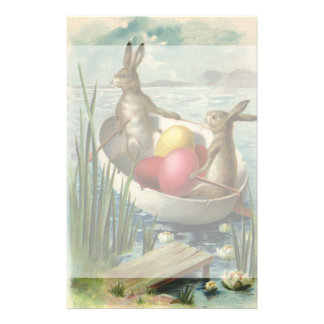 Vintage Easter, Victorian Bunnies in Egg Boat Stationery