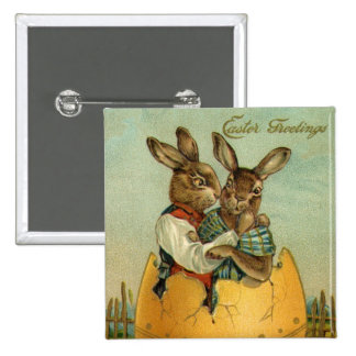 Vintage Easter, Victorian Bunnies in Egg 2 Inch Square Button